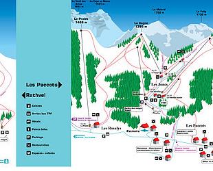 Mapa střediska - areálu - Les Paccots
