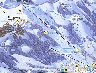 Mapa střediska - areálu - Brunni - Haggenegg
