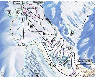 Mapa střediska - areálu - Nätschen - Gütsch - Andermatt