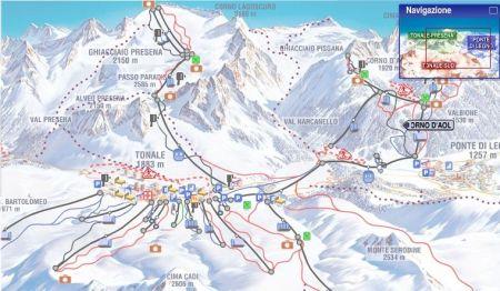 Mapa střediska - areálu - Tonale/Ponte di Legno