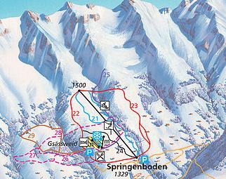 Mapa střediska - areálu - Springenboden
