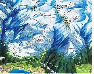 Mapa střediska - areálu - Rochers de Naye - Caux