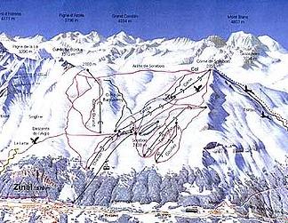Mapa střediska - areálu - Zinal