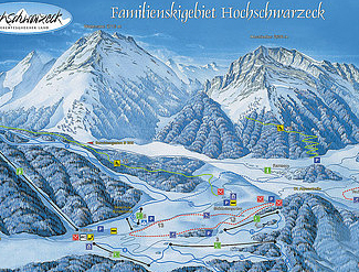Mapa střediska - areálu - Hochschwarzeck - Ramsau bei Berchtesgaden