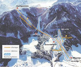 Mapa střediska - areálu - Ruhpolding - Unternberg