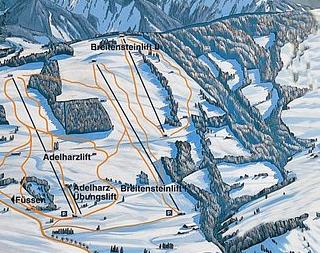 Mapa střediska - areálu - Adelharz-Breitenstein Lifte