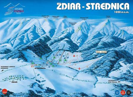 Mapa střediska - areálu - Skicentrum Strednica Ždiar