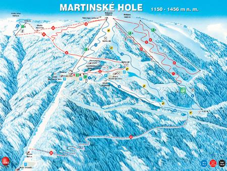 Mapa střediska - areálu - Martinky - winter park