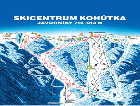 Mapa střediska - areálu - Ski Centrum Kohútka