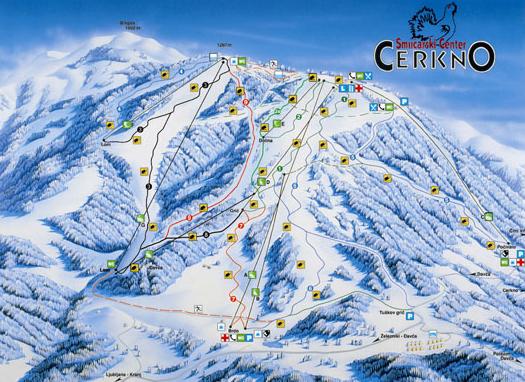 Mapa střediska - areálu - Cerkno