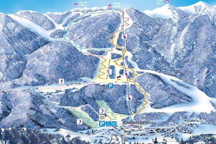 Mapa střediska - areálu - Kobla