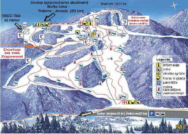 Mapa střediska - areálu - Stari vrh