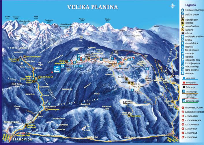 Mapa střediska - areálu - Velika planina