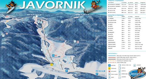 Mapa střediska - areálu - Javornik