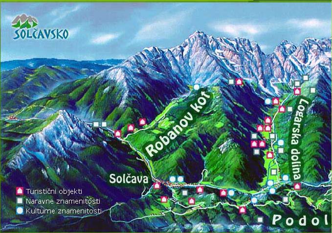 Mapa střediska - areálu - Logarska dolina