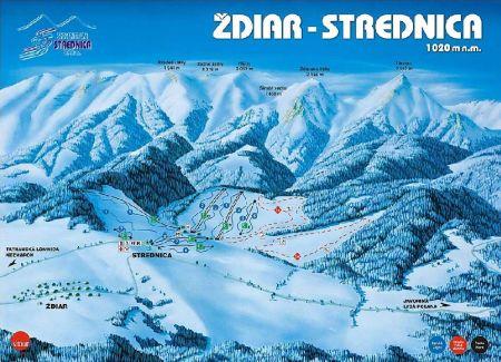 Mapa střediska - areálu - Žďiar - Strednica