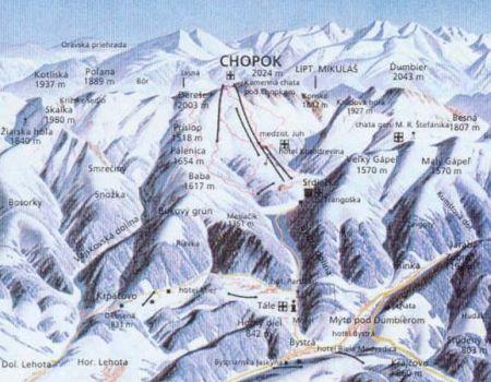 Mapa střediska - areálu - Bystrá