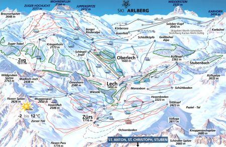 Mapa střediska - areálu - Lech am Arlberg