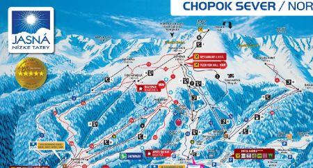 Mapa střediska - areálu - Chopok Jih - Kosodrevina