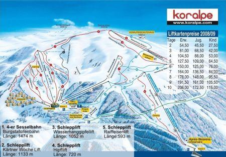 Mapa střediska - areálu - Koralpe