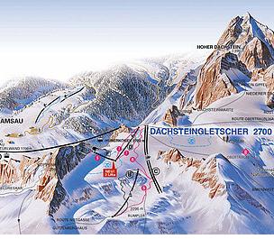 Mapa střediska - areálu - Dachstein Gletscher