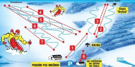 Mapa střediska - areálu - Kavečany