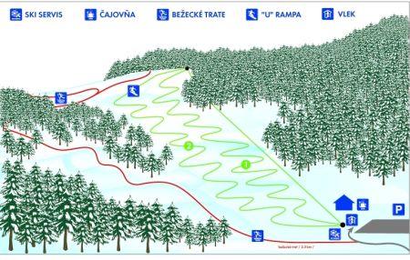 Mapa střediska - areálu - Štós - Šikmá stráň