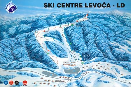 Mapa střediska - areálu - Ski centre Levoča - LD