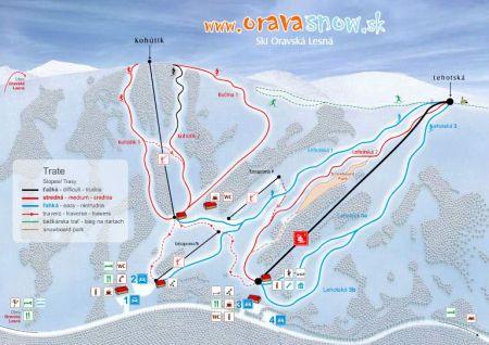 Mapa střediska - areálu - Orava Snow - Oravská Lesná