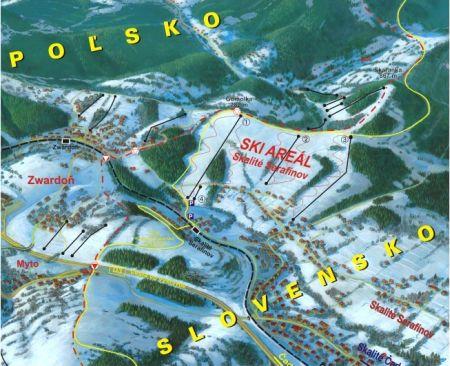 Mapa střediska - areálu - Skalité - Serafínov