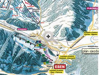 Mapa střediska - areálu - Eben - Ski Amade