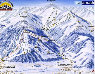Mapa střediska - areálu - Radstadt - Altenmarkt - Ski Amade