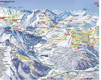 Mapa střediska - areálu - Eggalm/ski - Gletscherwelt - Zilleratal 3000
