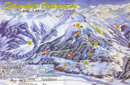 Mapa střediska - areálu - Kellerjochbahn Schwaz - Pill