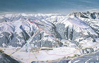 Mapa střediska - areálu - Obertilliacher Bergbahnen