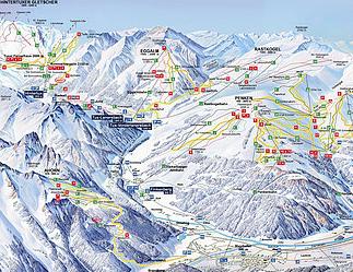 Mapa střediska - areálu - Rastkogel/Ski Gletscherwelt Zillertal 3000
