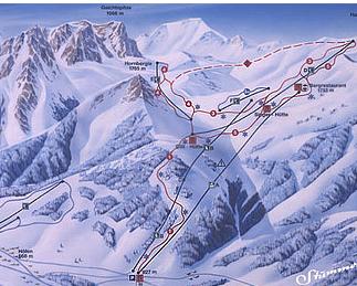 Mapa střediska - areálu - Reuttener Seilbahnen Hannenkamh - Hofener Alm