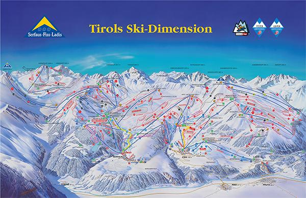 Mapa střediska - areálu - Serfaus - Fiss - Ladis