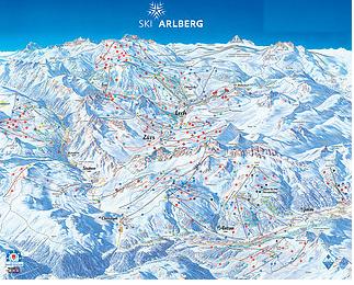 Mapa střediska - areálu - St.Anton Am Arlberg