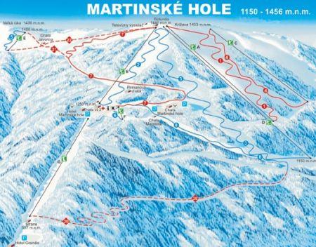 Mapa střediska - areálu - Martinské Hole