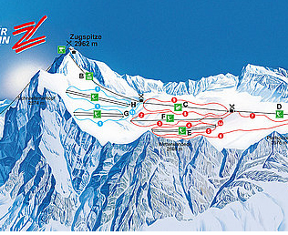 Mapa střediska - areálu - Tiroler Zugspitzbahn