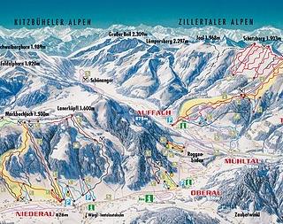 Mapa střediska - areálu - Wildschonau
