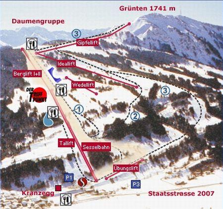 Mapa střediska - areálu - Grunten