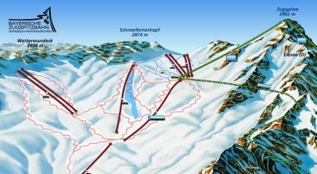 Mapa střediska - areálu - Garsmich Partenkirchen - Bayerische Zugspitzbahn