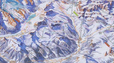 Mapa střediska - areálu - Marmolada Gletscher