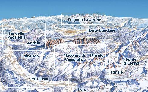 Mapa střediska - areálu - Paganella