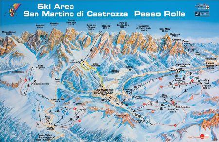 Mapa střediska - areálu - Passo Rolle