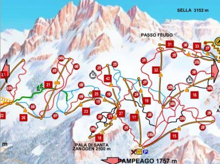 Mapa střediska - areálu - Skicenter Latemar