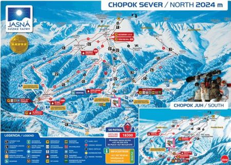 Mapa střediska - areálu - Chopok - sever - Otupné