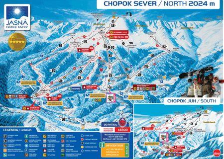 Mapa střediska - areálu - Chopok - sever - Biela Púť